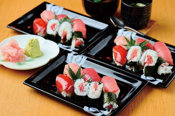 みえまぐろ寿司は1皿1500円相当。2皿以上食べると元が取れる。ほかに、茶わん蒸しと味噌汁が付く / 三喰撰酒 三重人 KITTE名古屋店