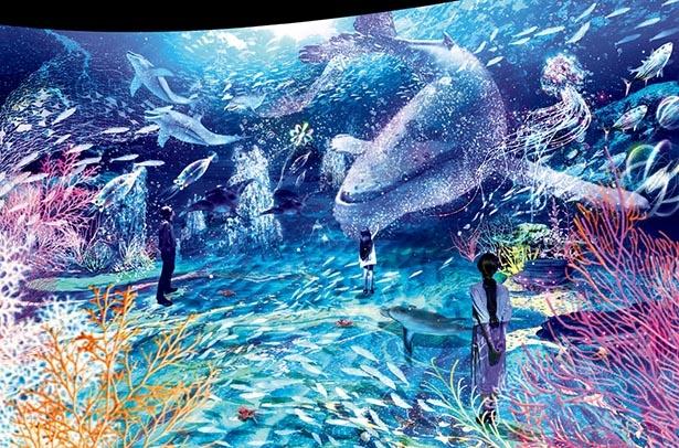【写真】最旬アート展で極彩色の海の中を探検していると、迫力の大クジラが目の前に接近
