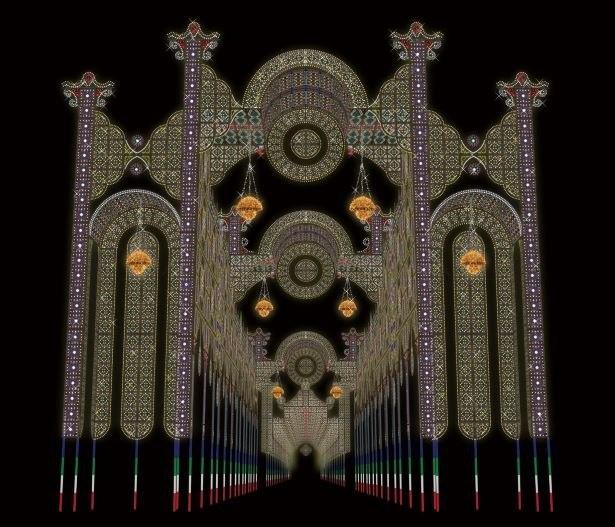 光輝く神戸ルミナリエの玄関口「フロントーネ」と「スッパリエーラ」