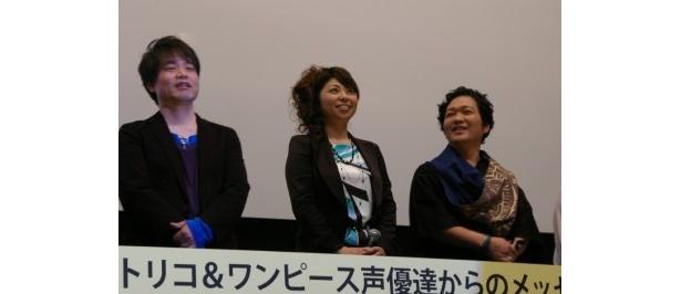『ワンピース』シリーズで声優を務める左から、ロロノア・ゾロ役の中井和哉、ナミ役の岡村明美、ウソップ役の山口勝平