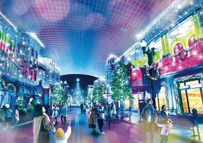 日没後エントランスとキャノピーにクリスタルが360度輝く空間が/ユニバーサル・スタジオ・ジャパン