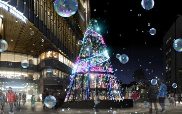開催中の「HIBIYA Magic Time Illumination」では、高さ約12メートルのメインツリーが登場