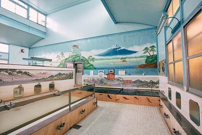 昭和風情が残る浴場は天井が高く、開放感がある。男湯の富士山のペンキ絵は、有名女性絵師・田中みずきさんによるもの。浴槽のタイルには鯉が描かれている