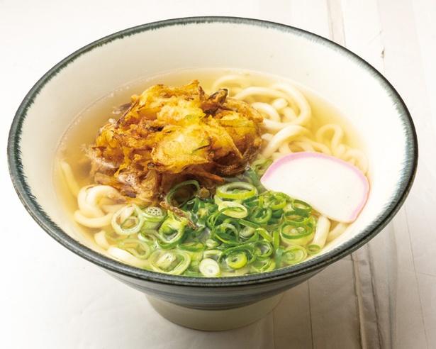 かき揚げうどん(600円)。程よいコシのある自家製麺が特徴 / うどん酒場 徳三郎