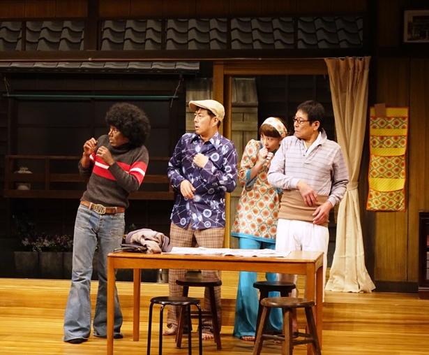 写真右からダンカン、飯豊まりえ、宅間孝行、富田翔