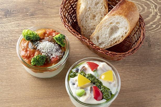 4種類の野菜を使ったミートソースのポテトクリームサラダと枝豆のホワイトソースのポテトクリームサラダ 各500円(税込)