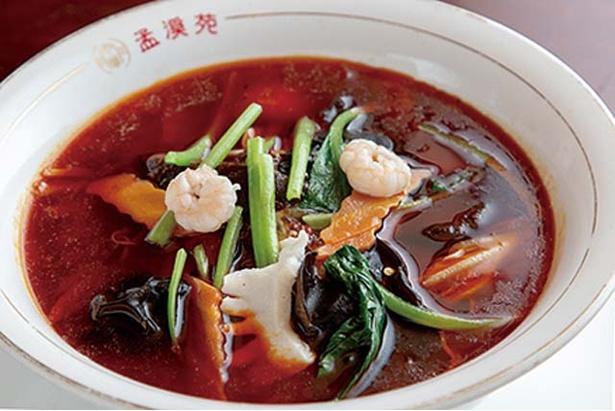 中華料理 孟渓苑 / 酸辣湯麺(950円)。すっぱ辛い味付けにハマる