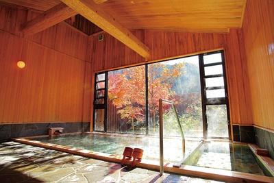 内湯は、源泉かけ流しの「ぬる湯」と加温のみの「熱湯」、2種類の浴槽を備える / 神明温泉 湯元すぎ嶋