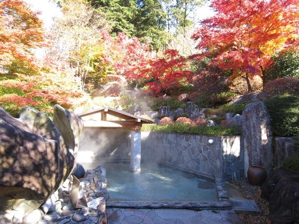 【写真を見る】「飛騨川温泉 しみずの湯」の、せせらぎと山の景観を生かした露天風呂。秋は華やかな紅葉に包まれる