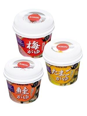 キリン協和フーズの「Cayu~na(かゆ-菜)梅がゆ 鮭がゆ たまごがゆ」(各\199)