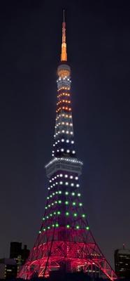 「インフィニティ・ダイヤモンドヴェール」東京タワー開業記念日(12月23日)の点灯イメージ