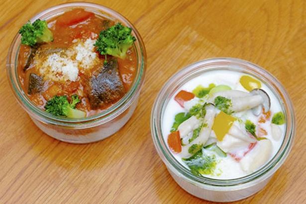 4種類の野菜を使ったミートソースのポテトクリームサラダ(税込500円)と枝豆のホワイトソースのポテトクリームサラダ(税込500円)