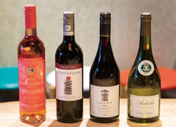 から揚げ×イタリアン 大衆酒場まりお / 「グラスワイン」(500円)。利き酒セット3種(780円〜)も