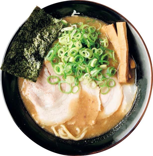 とんこつラーメン(800円)。豚骨を羽釜でいっきにたいた髄も溶け出す濃厚スープ/与七 堅田本店
