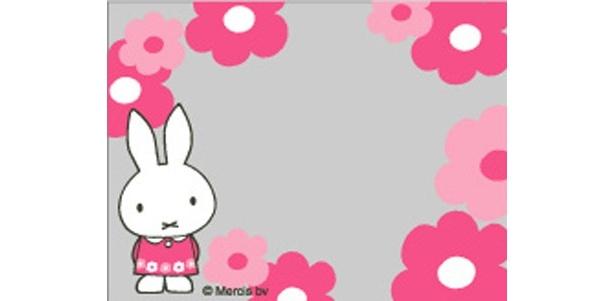 「ダイナミックフォト」のフレームその5。ピンク色の洋服が似合うミッフィー