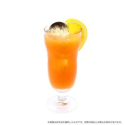 オレンジジュースとグレナデンシロップを組み合わせ、「ハイキュー!!」のイメージカラー(マンダリンオレンジ)を再現