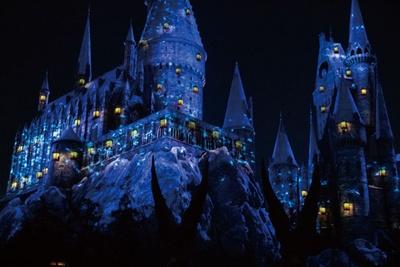 ひらひらとホグワーツ城の周りを蝶が舞い、神秘的な青い光に包まれる/ユニバーサル・スタジオ・ジャパン「ホグワーツ・マジカル・ナイト~ウィンター・マジック~」