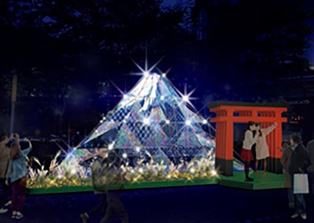 さまざまな演出が施された光る富士山 / 東京ドームシティ