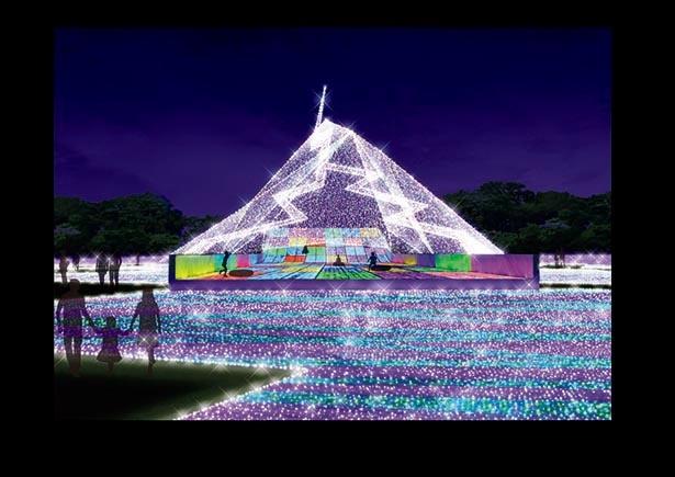 最高神ゼウスの宮廷をイメージした光の山 / よみうりランド