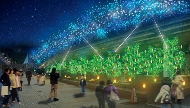 全長約100メートルにわたり短冊や天の川がきらめく / 東京ドームシティ