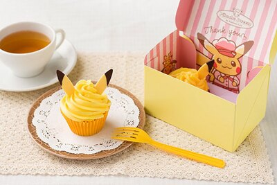 イエローのクリームが目を引くカップケーキは、ピカチュウの耳がポイント