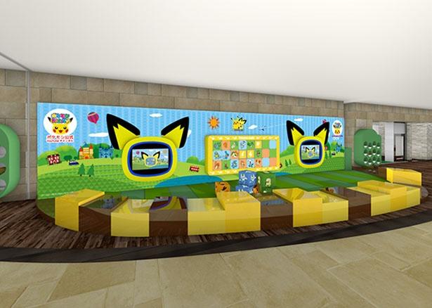 子供専用のキッズプレイスペース。ピチューの形をしたモニターで「ポケモン Kids TV」の動画を見ることができる