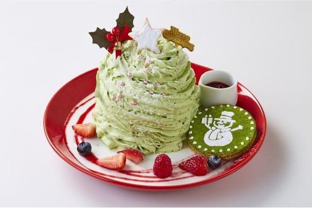 【写真】パンケーキを覆い隠すほどの山盛りの抹茶クリームが目を引く「モンスターツリーパンケーキ 」