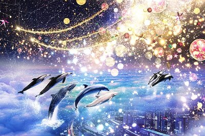 マクセル アクアパーク品川では、イルミと海の生き物が美しくコラボ