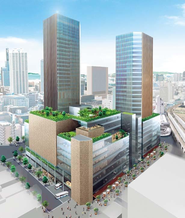 【写真を見る】図書館、ホテルなどが含まれた新しい神戸のシンボルとなる複合ビルを予定/三ノ宮バスターミナル