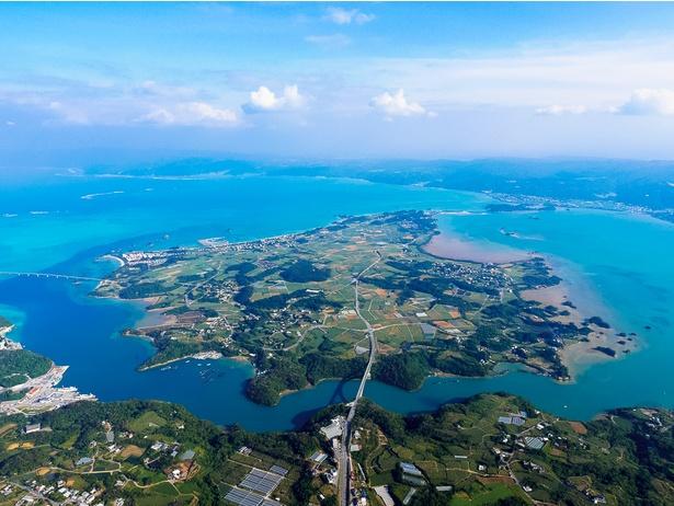 沖縄本島の今帰仁から橋でつながる屋我地島。島の左からうっすら伸びる橋が有名な絶景スポット古宇利大橋です。いつも古宇利へと通過するだけでしたが、屋我地が最高に楽しい!