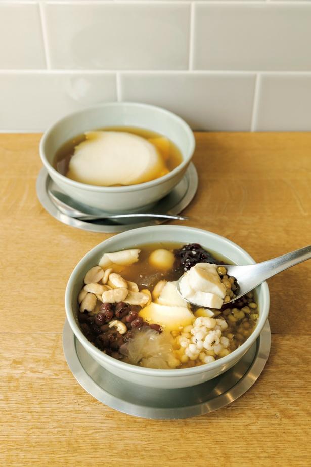 シロップは黒糖と冬糖と冬季限定の生姜から選べるトッピング豆花(650円)。メニューはプレーンとトッピングの2種類のみ