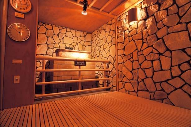 塩水の成分を利用した「空風呂」。塩水に含まれたミネラル成分が蒸気となり体を包む/天然大和温泉 奈良健康ランド