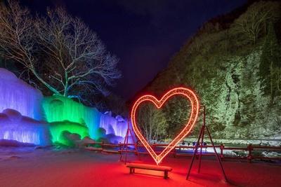 公園内に生い茂る木々に、何度も水を吹きかけて作る氷のオブジェ。近くの砂防ダムトンネルでイルミネーションを同時開催 / タルマかねこおりライトアップ