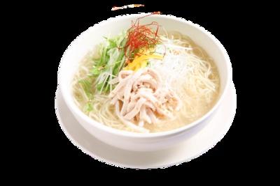 ねぎ塩鶏そば(単品730円、蒸し小籠包セット980円) / 鼎's 福岡パルコ店