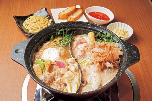 地鶏発酵ダブル鍋(1人前2680円、2人前〜)/鶏一輪