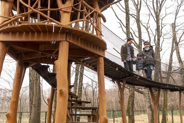 最初は吊り橋を体験。高いところは平気と話していた康平くんも、恐る恐る歩を進める