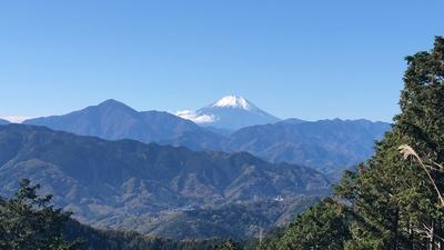天気が良かったこともあり、高尾山の山頂からは富士山の姿が! 山の上は空気もきれいだし、そとごはんも格段においしく感じました
