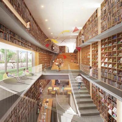 大きな吹き抜けを囲う壁一面に本棚を設置し、たくさんの本に囲まれた「本の森」に/こども本の森 中之島