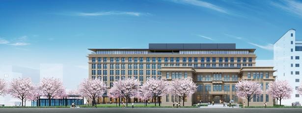 手前が既存校舎、奥が新築棟の複合施設で、新旧が調和するデザインが魅力/立誠ガーデン ヒューリック京都(仮称)