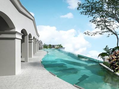 眼前に広がる海と夕陽を臨むインフィニティプール / LequOkinawa Chatan Spa & Resort