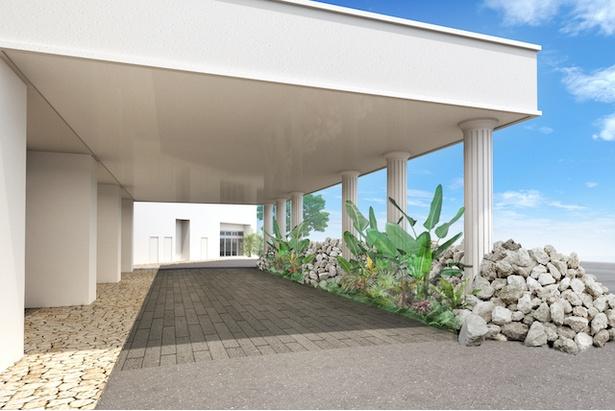 """【写真を見る】""""グスク""""をイメージした琉球石灰岩が積まれたエントランス / LequOkinawa Chatan Spa & Resort"""