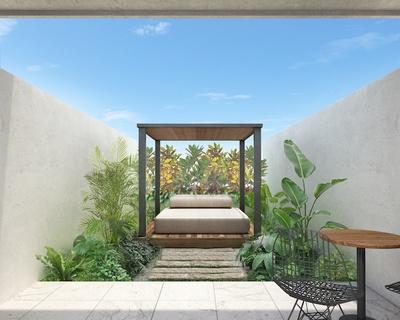 テラス付き客室のデイベッド / Lequ Okinawa Chatan Spa & Resort