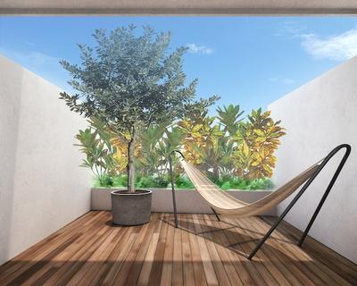 テラス付き客室のハンモック / Lequ Okinawa Chatan Spa & Resort
