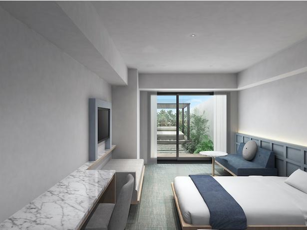 """客室内のテーマは、""""アールデコと沖縄モダンの融合"""" / Lequ Okinawa Chatan Spa & Resort"""