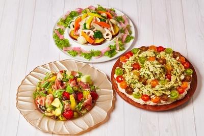 「フルーツサラダ 生ハムとサラミ添えて」など、サラダは全5種