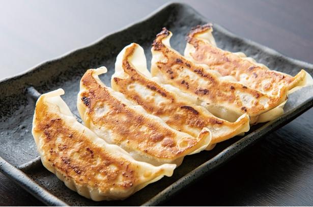 鶏革命 八幡本城店 / 「餃子」(5個300円・税込)。ニンニク、ニラは不使用。味付けされた鶏挽き肉が入り、タレなしで食べる