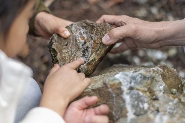 道中、天然の水晶を見つけて「わぁ、すごい!水晶、初めて見た!」と、大喜びの彩乃ちゃん