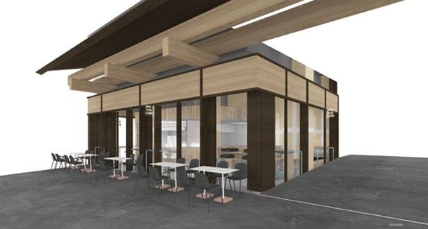 東洞院通の路面店。テラス席のほか、店内にはカウンターやソファー、テーブル席に、スタンド席も/DIG THE LINE BOTTLE&BAR