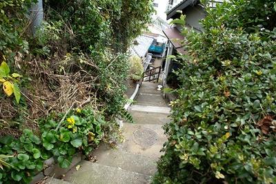 雑賀崎の斜面の路地。人ひとり通ればいっぱいの細い道が縦横にめぐり、迷路のような楽しさがある