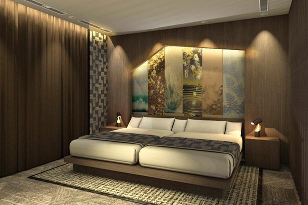 名古屋を代表する有名建築家がデザイン したスイートルームには、名古屋友禅のウォー ルアートやピクチャーアートが飾られている / 名古屋テレビ塔